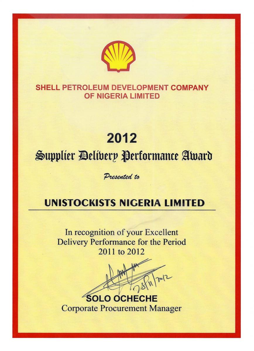 2012 Shell Supplier Delivery Performance Award
